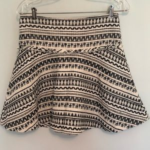 Banana Republic Skater Skirt Black Cream 0